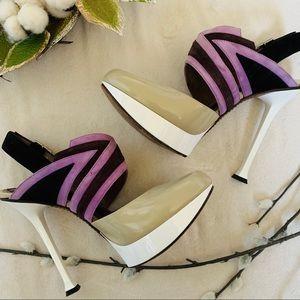 "Marni Taupe Tan Purple Suede Leather 5"" Heel 7.5"